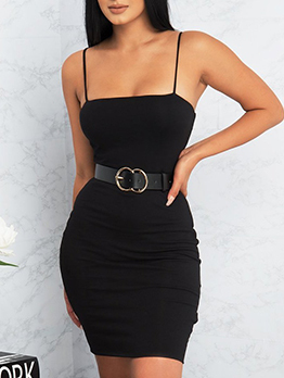 New Arrival Spaghetti Straps Solid Bodycon Dresses