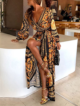 Printing V Neck Tie-wrap Split Maxi Dresses