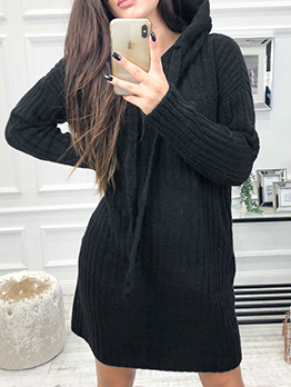 Casual Hooded Collar Knitted Jumper Dresses