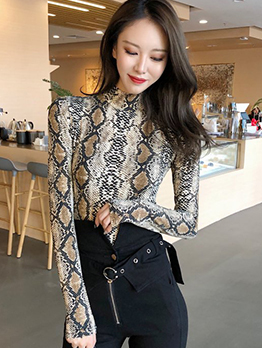 Sexy High Neck Fitted Snake Print Lady T-Shirt