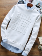 Characteristic Letter Casual Men Sweatshirts