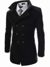 Hot Sale Solid Double-breasted Turndown Collar Coat