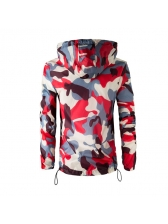 Casual Camouflage Hooded Collar Zipper Coats