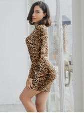 Trendy Leopard Stand Neck Fitted Dresses