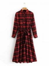 Fashion Plaid Single-breasted Turndown Collar Tie-wrap Dresses