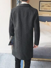 Masculine Lapel Two Buttons Fitted Mens Coat
