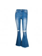 New Arrival Holes Bootcut Jeans For Women