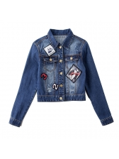 New Arrival Patch s[Read Neck Casual Cropped Jacket