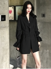 Chic Lapel Flare Sleeve Two Buttons Blazer Dresses