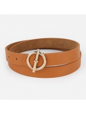 Personality Solid Round Buckle Belt For Women