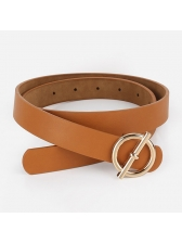 Personality Fashion Solid Round Buckle Belt For Women