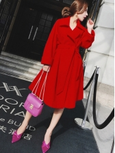 Winter Solid Turndown Neck Binding Long Coat