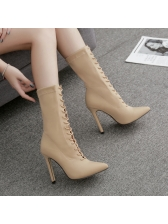 Euro Lace Up Pointed Toe Heel Mid Calf Boots