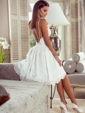 Backless Lace V Neck White Dress
