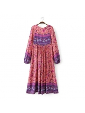 National Style Printed Loose Long Sleeve Dress