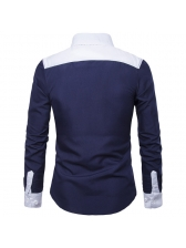 Fashion Color Block Fitted Long Sleeves Men Shirt