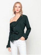 New Arrival One Shoulder Button Binding Blouse