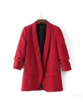 Lapel Collar Fitted Solid Casual Blazer For Women