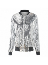 Casual Stand Neck Sequined Loose Baseball Jacket
