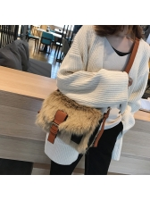 Hot Sale Leather Hasp Fluffy Over Shoulder Bags