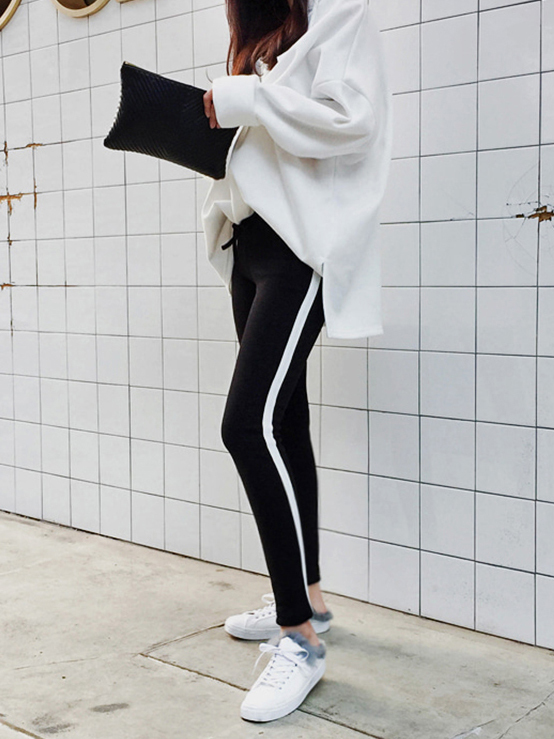 Casual Contrasting Colors Fitted Long Pants