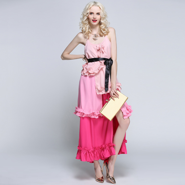 Chic Gradient Color Backless Tie-wrap Split Tiered Dress