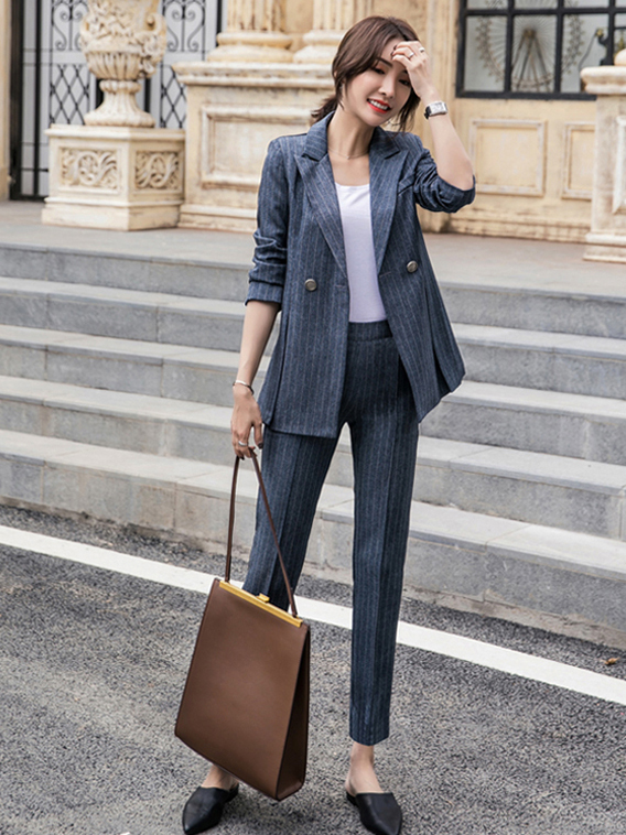 Korean Design Lapel Striped Fitted Women Suits