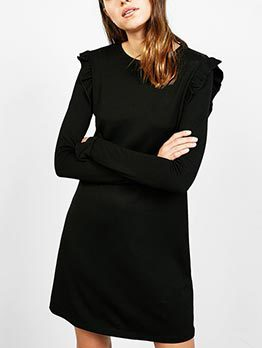 Casual Crew Neck Black Ruffle Cheap Dresses