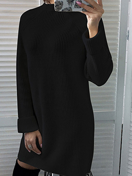 Casual Long Sleeve Winter Knitted Dress