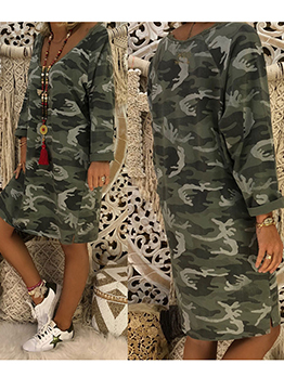V Neck Camouflage Print Loose Casual Dresses
