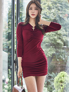 Korean Ladies Fitted Pleated Dress