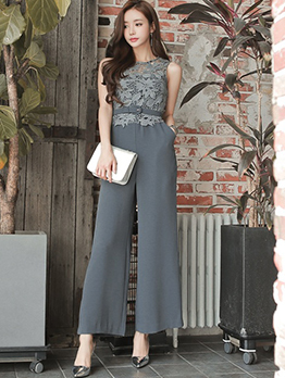 Chic Solid Fitted Patchwork Lace Jumpsuit With Belt