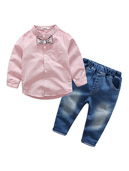 Fashion Striped Single-breasted Shirts Baby Boy Outfits