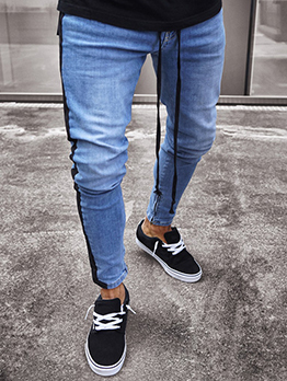 New Arrival Solid Fitted Tie Wrap Men Jeans