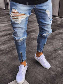 Euro Style Solid Fitted Rinse Blue Ripped Jeans