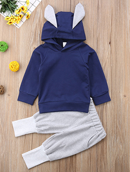 Leisure Rabbit Ears Contrast Color Hooded Baby Outfits