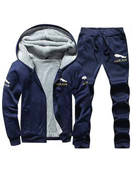 Winter Solid Hooded Collar Thicken Activewear For Men