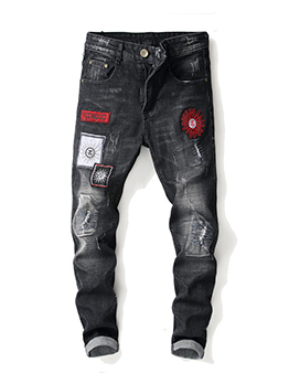 Wholesale7 Fitted Embroidery Mid Waist Jeans For Men