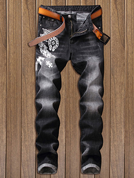 Wholesale7 Solid Fitted Printed Straight Jeans For Men