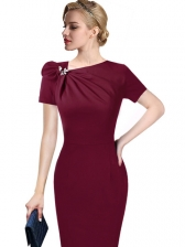 Autumn Solid Fitted Short Sleeves Asymmetric Neck Dress