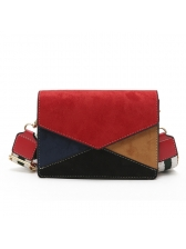 Minimalist Contrast Color Square Suede Shoulder Bags