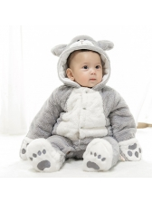 Fluffy Color Matching Animal Hooded Baby Sleepsuits