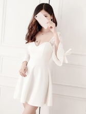 Lace Patchwork Binding Bow Flare Sleeve Sexy Dress