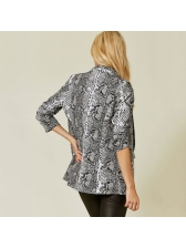 Hot Sale Snake Print Fitted Turndown Neck Coat