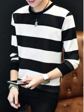 Spring Fitted Striped Color Block Sweatshirt For Men