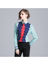 Euro Contrasting Colors Turndown Neck Loose Blouse