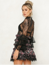 Euro See Through Puff Sleeve Lace Female Blouse