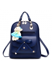 College Style Metallic Bow Zip Backpack For Women