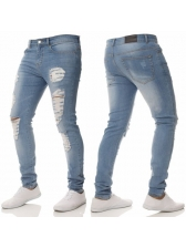 Autumn Easy Matching Solid Fitted Men Ripped Jeans