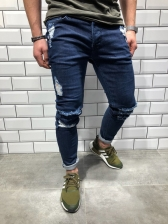 Hot Sale Fitted Rinse Mid Waist Distressed Jeans